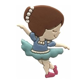 Aplic. bailarina azul aprox. 2 x 3,5 cm  c/ 10 unds