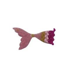Aplic. calda sereia gliter rosa/ouro - aprox. 2,5  c/ 10 unds