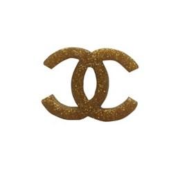 Aplic. chanel gliter dourado c/ 10 unds