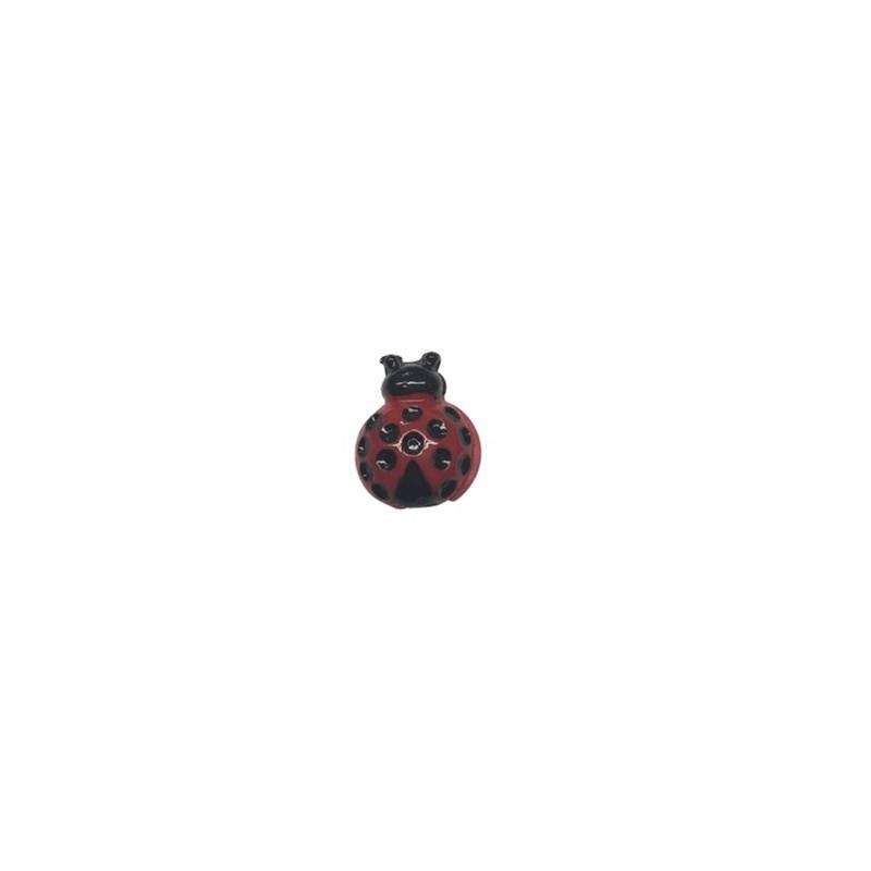 Aplic. de plastico joaninha - aprox. 2 cm  c/ 10 unds