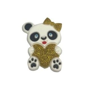 Aplic. panda c/ coração dourado  c/ 10 unds