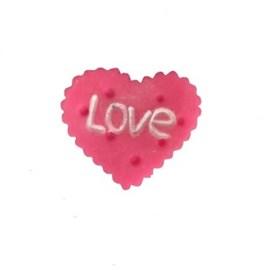 Aplic. plastico coracao biscoito pink - aprox. 3 cm c/ 10 unds