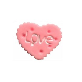 Aplic. plastico coracao biscoito rosa c/ 10 unds