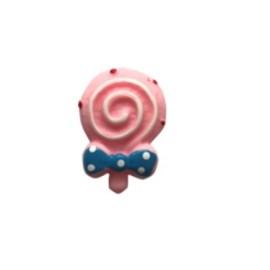 Aplic.  plastico pirulito rosa -aprox. 2 cm   c/ 10 unds