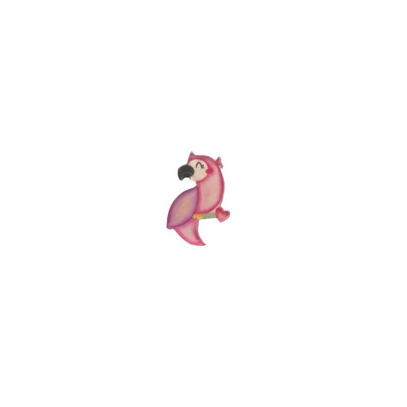 Aplique acrilico arara rosa - aprox. 2 cm c/ 5 unds
