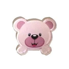 Aplique acrilico cabeça ursa rosa 3 cm c/ 5 unds