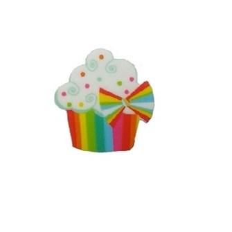 Aplique acrilico cupcake tam aprox. 2,00 x 3,00 cm  pct c/ 5 unds
