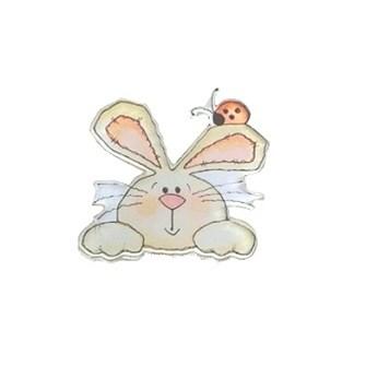 Aplique acrilico n. 149 - coelho - aprox. 3 x 3 cm c/ 5 unds