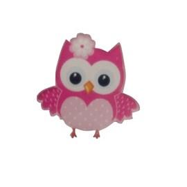 Aplique acrilico n. 72- coruja rosa- aprox. 2 x 3 cm c/ 5 unds