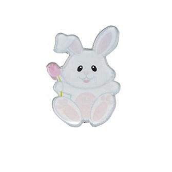 Aplique  acrilico ref.74  - coelho branco - aprox. 3.5 x 2 cm c/ 5 unds