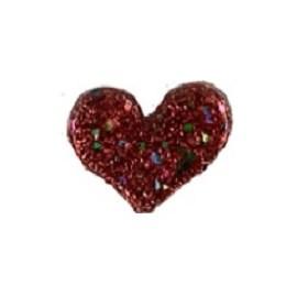 Aplique coração brilho flocada aprox. 4.5 x 5 cm c/ 5 unds