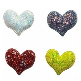 Aplique coração glitter  - aprox. 5.5 cm   c/ 5 unds