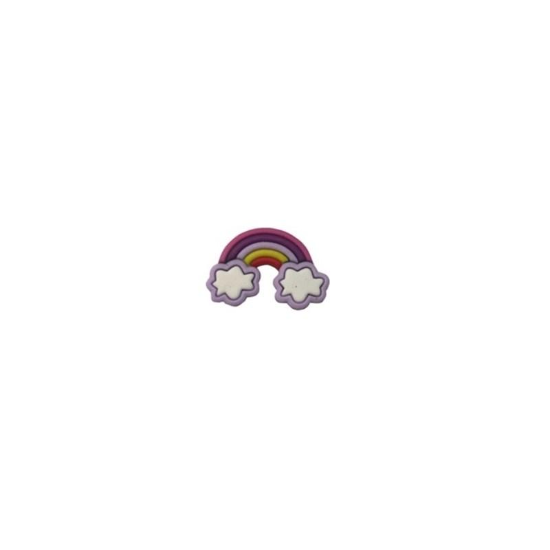 Aplique emborrachado arco iris lilas - aprox. 3 x 2 cm c/ 10 unds