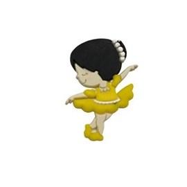Aplique emborrachado bailarina amarela - aprox. 2 x 3,5 cm c/ 10 unds