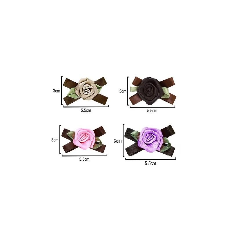 Aplique laço c/ rosa ref. 35 - 5.5 x 3 cm c/ 10 unds