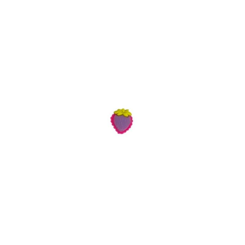 Aplique plastico ref.mon-2- morango  aprox. 2,8 x 2.5 cm c/ 10 unds