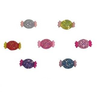 Aplique plastico ref.mon-bal - bala glitter  aprox. 1.5 x 2,4 cm c/ 10 unds
