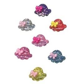 Aplique plastico ref.mon-cha - chapeu glitter  aprox. 1.5 x 2,4  cm c/ 10 unds