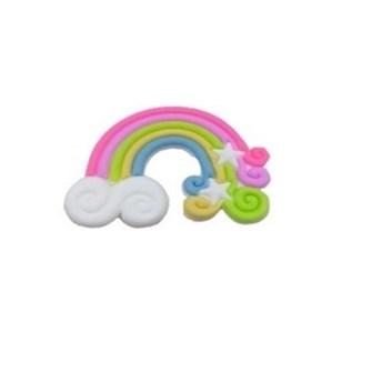 Aplique silicone arco iris  ref. 122027  - aprox. 5 x 4  cm c/ 5 unds