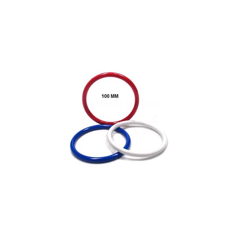 Argola acrilica jowama tricolor/branca  n.100 c/ 24 pcs