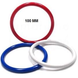 Argola acrilica  tricolor/branca  n.100 diametro 100mm c/ 24 pcs