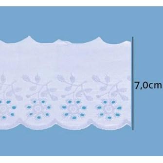 Bordado em algodão luli 112082 larg.: 7,0 cm c/ 13.7 mts