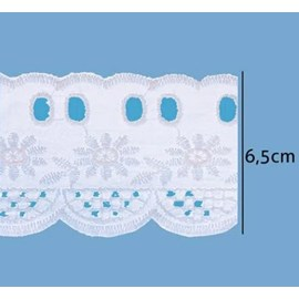 Bordado em algodão passa fita luli 110055 larg.: 6.5 cm  c/ 13.7 mts