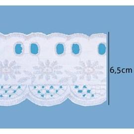 Bordado passa fita algoodão luli ref. 110055 - 6.5 cm  c/ 13.7 mts
