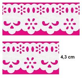 Bordado passa fita c/ lasy 05 larg. aprox 4,3 cm  pç c/ 10 mts