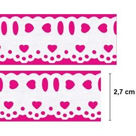 bordado passa fita mini coraçao  27 larg. aprox 2,7 cm -c/ 10 mts