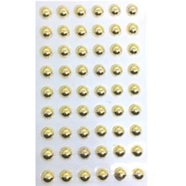 Cartela adesivo ref.ab-ou-10 -meia perola ouro - 10 mm c/ 54 unds