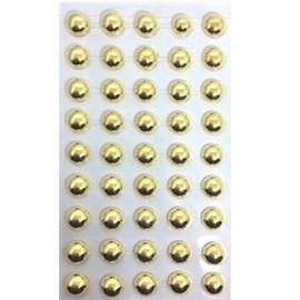 Cartela adesivo ref.ab-ou-12 -meia perola ouro - 12 mm c/ 45 unds