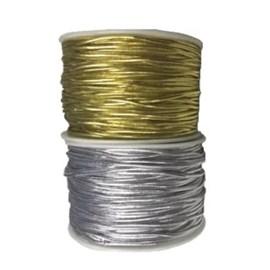 Cordao metalizado com elastano ref.300- 1,0mm x 50mts