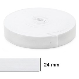 Elastico poliéster jaragua branco n. 25 larg: 24 mm pç c/ 25 mts