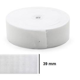 Elastico poliester jaragua branco n.40 largura 39 mm  pç c/ 25 mts