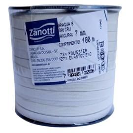 Elástico poliester jaragua branco   n.8 largura: 07 mm pç  c/ 100 mts