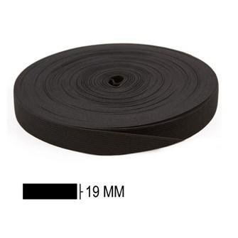Elastico poliéster jaragua preto n. 20 larg: 19 mm  pç c/ 25 mts