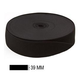 Elastico poliester jaragua preto n.40 largura 39 mm  pç c/ 25 mts