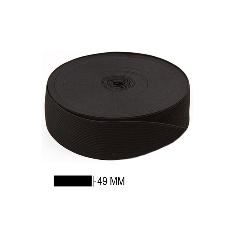 Elastico poliester jaragua preto n.50 largura: 49 mm  pç c/ 25 mts