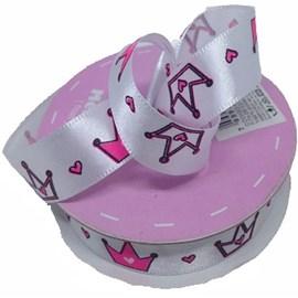 Fita de cetim coroa ref. 231021 - 1.5 c/ 10 mts Branco/pink