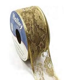 Fita halley renda ouro aramada - 36 mm c/ 9.14 mts