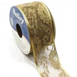 Fita halley renda ouro aramada - 47 mm c/ 9.14 mts