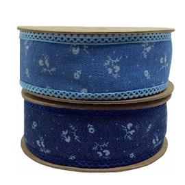 Fita jeans floral ref.452002 /452003 - 2.5 cm c/ 10 mts