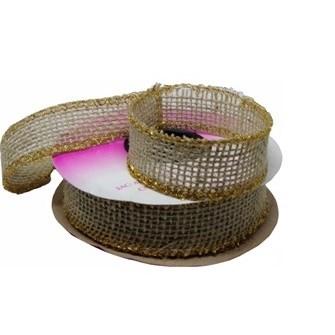 Fita juta/metalizada uniart ouro   3,00 cm c/ 10 mts