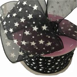 Fita voil estampado melaço estrela 561500   4 cm c/ 10 mts