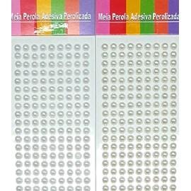 Meia perola adesiva trama  6 mm c/ 360 unds