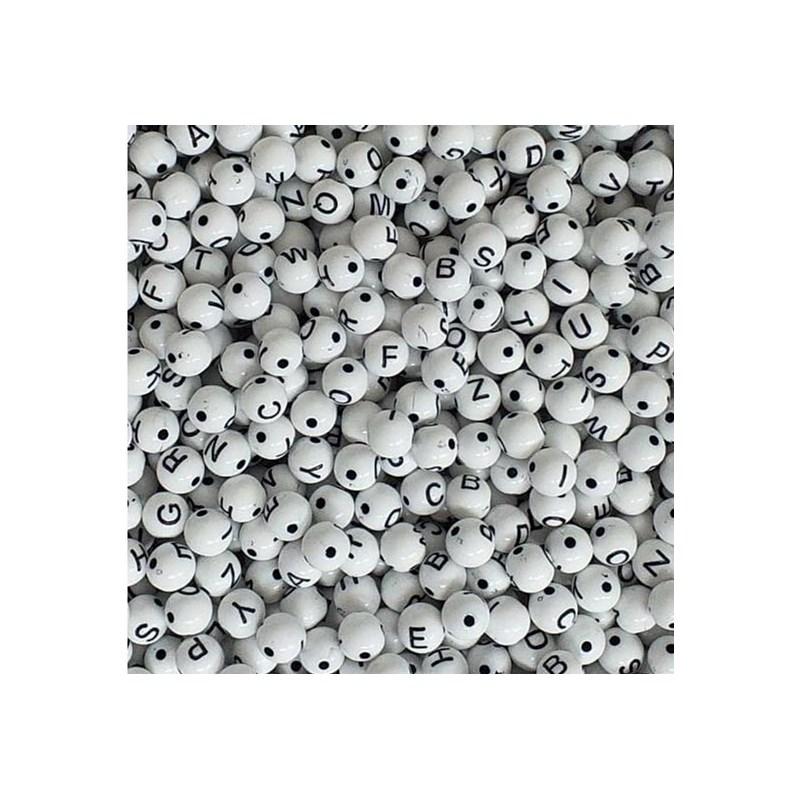 Miçanga bola branca c/ letras preta - 8 mm c/ 50 grs