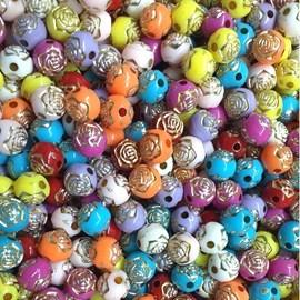 Miçanga bola flor 8 mm  cores sortidas -   pct c/ 50 grs