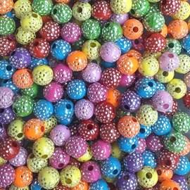Miçanga bola strass 8 mm  cores sortidas - 8 mm c/50 grs