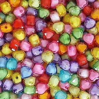 Miçanga coração cores sortidas - 12 mm c/ 50 grs